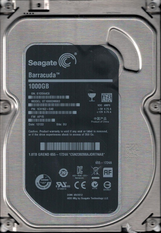 Seagate ST1000DM003 P/N: 1CH162-040 F/W: AP15 SU S1D APPLE 655-1724A