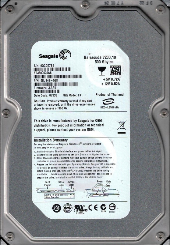 Seagate ST3500630AS P/N: 9BJ146-568 F/W: 3.AFK TK 9QG 500GB