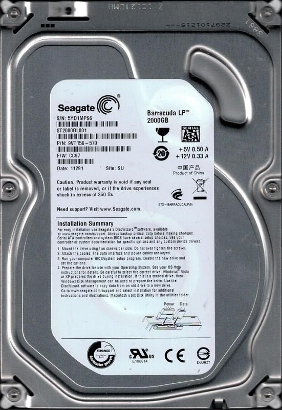 Seagate ST2000DL001 2TB P/N: 9VT156-570 F/W: CC97 SU 5YD