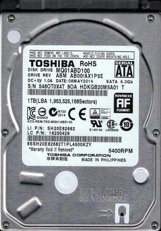 MQ01ABD100 ABM AB00/AX1P5E Toshiba 1TB