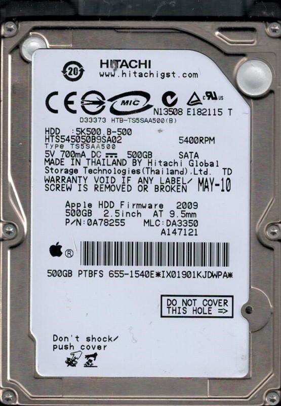 Hitachi HTS545050B9SA02 P/N: 0A78255 MLC: DA3350 MAC 655-1540E 500GB