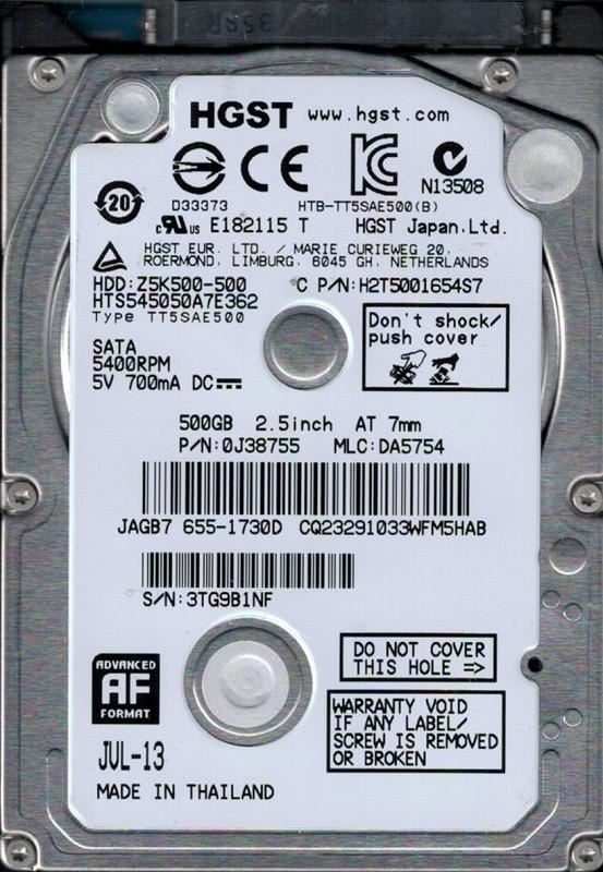 HTS545050A7E362 P/N: 0J38755 MLC: DA5754 MAC 655-1730D Thailand HGST 500GB