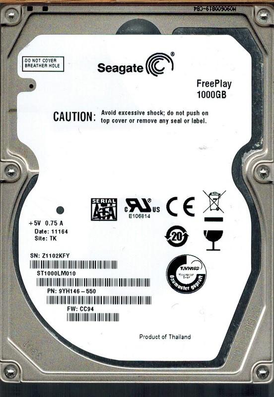 Seagate ST1000LM010 P/N: 9YH146-550 F/W: CC94 1TB TK