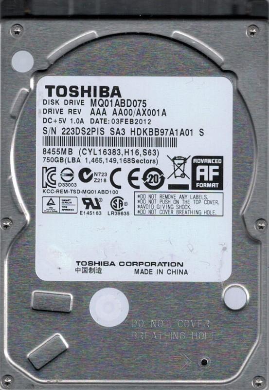 Toshiba MQ01ABD075 750GB AAA AA00/AX001A  CHINA