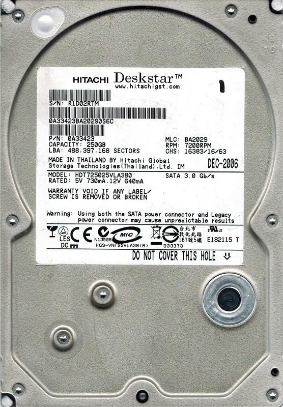 Hitachi HDT725025VLA380 P/N: 0A33423 MLC: BA2029 250GB