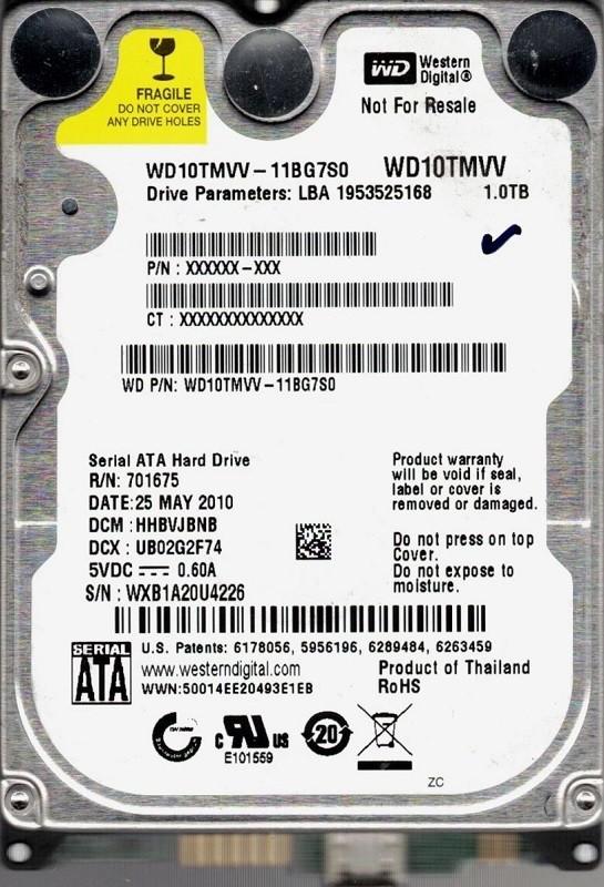 WD10TMVV-11BG7S0 DCM: HHBVJBNB WXB1A Western Digital 1TB