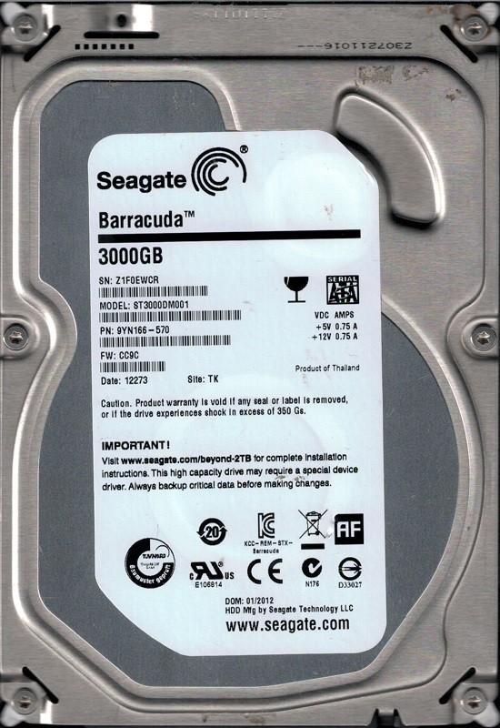 ST3000DM001 P/N: 9YN166-570 F/W: CC9C TK Seagate 3TB Desktop HDD Z1F