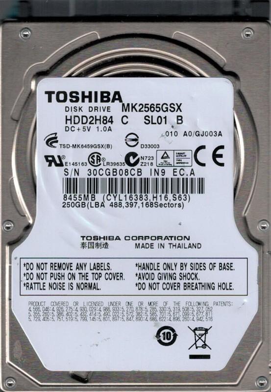 MK2565GSX HDD2H84 C SL01 B F/W: A0/GJ003A Toshiba 250GB