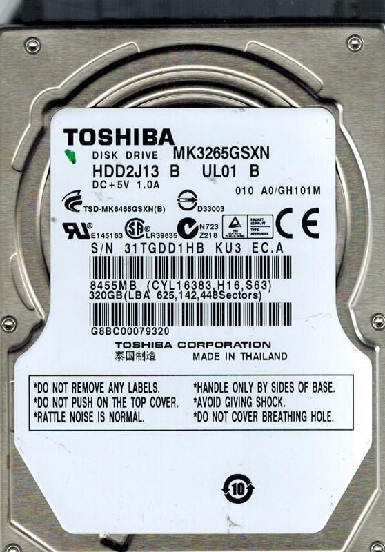 Toshiba MK3265GSXN 320GB SATA HDD2J13 B UL01 B THAILAND