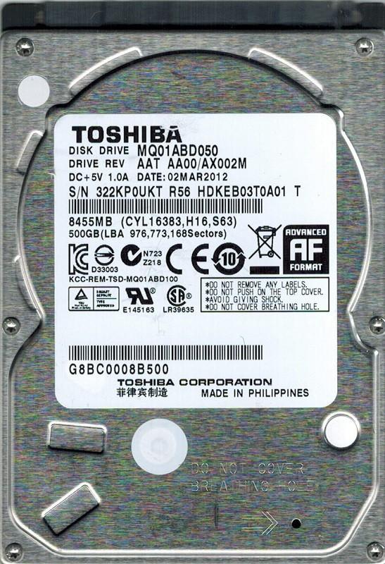 Toshiba MQ01ABD050 500GB AAT AA00/AX002M PHILIPPINES