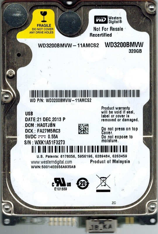 Western Digital WD3200BMVW-11AMCS2 USB 3.0 320GB DCM: HAOTJBN