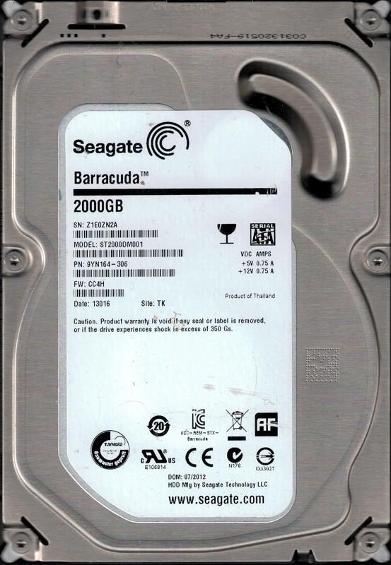 Seagate ST2000DM001 P/N: 9YN164-306 F/W: CC4H TK Z1E 2TB