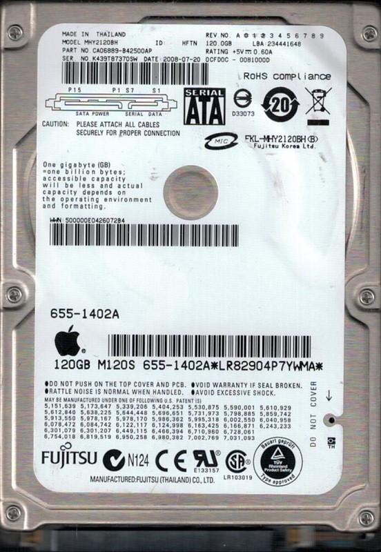 Fujitsu MHY2120BH 120GB P/N: CA06889-B42500AP MAC 655-1402A