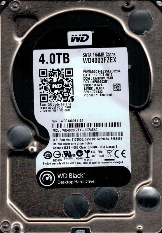 Western Digital WD4003FZEX-00Z4SA0 4TB DCM: EARCHVJMAB
