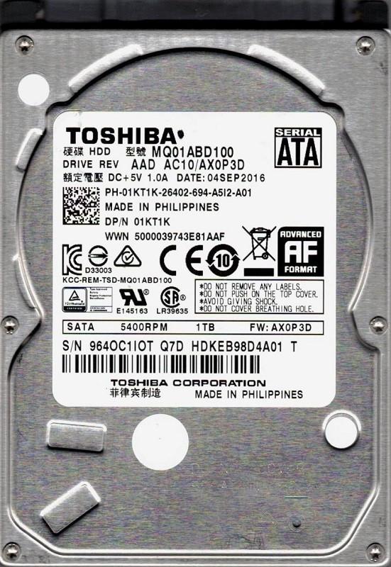 MQ01ABD100 AAD AC10/AX0P3D Toshiba 1TB