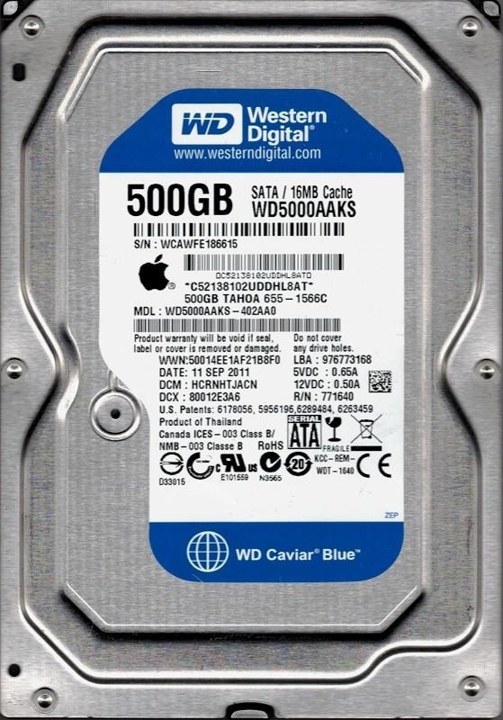 Western Digital WD5000AAKS-402AA0 MAC 655-1566С DCM: HCRNHTJACN 500GB