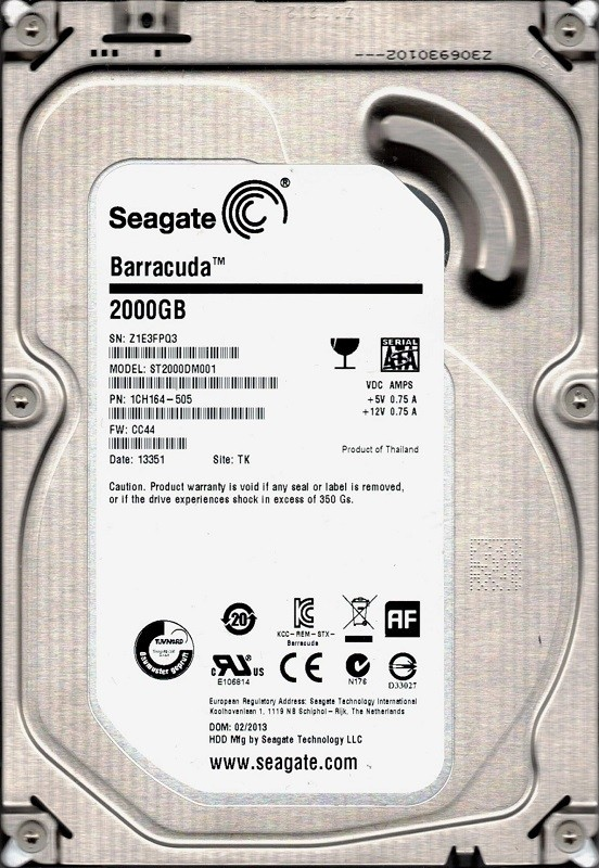 ST2000DM001 Seagate P/N: 1CH164-505 F/W: CC44 TK Z1E 2TB