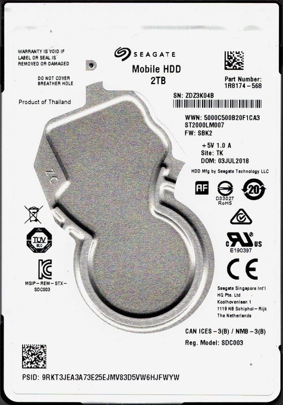 ST2000LM007 P/N: 1R8174-568 F/W: SBK2 TK ZDZ Seagate 2TB Mobile Hard Drive