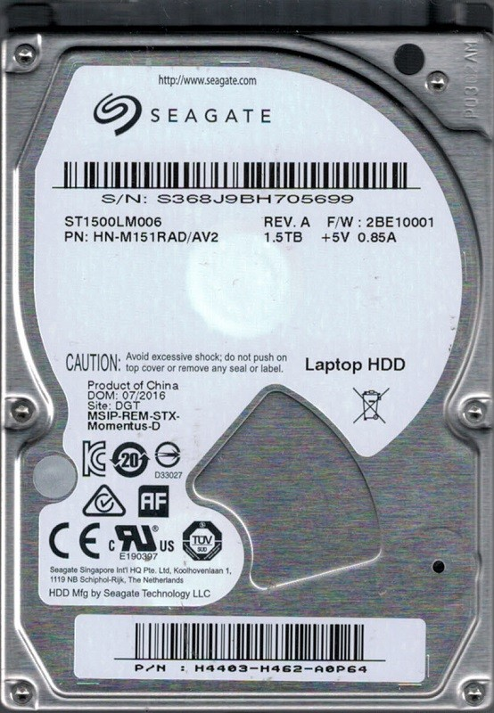 Samsung ST1500LM006 P/N: HN-M151RAD/AV2 F/W: 2BE10001 1.5TB