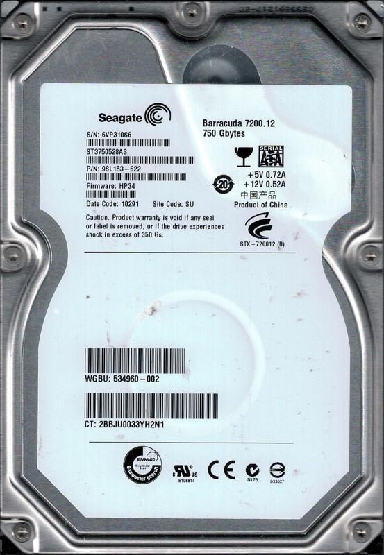 Seagate ST3750528AS P/N: 9SL153-622 F/W: HP34 750GB SU 6VP