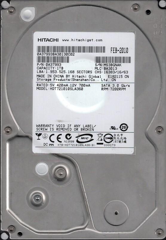 Hitachi HDT721010SLA360 P/N: 0A37993 MLC: BA3013 1TB China