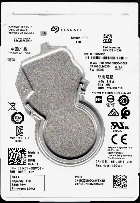 ST1000LM035 P/N: 1RK172-036 F/W: SDM3 WU WL1 Seagate 1TB Mobile HDD