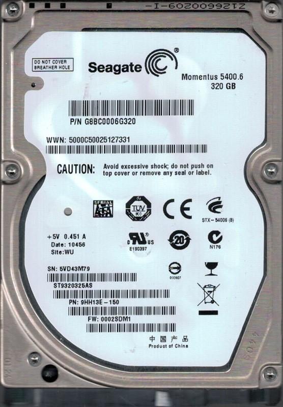 Seagate ST9320325AS P/N: 9HH13E-150 F/W: 0002SDM1 WU 5VD 320GB