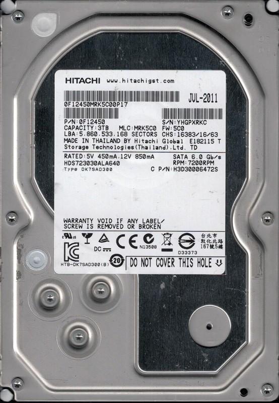Hitachi HDS723030ALA640 MLC: MRK5C0 P/N: 0F12450 Thailand 3TB