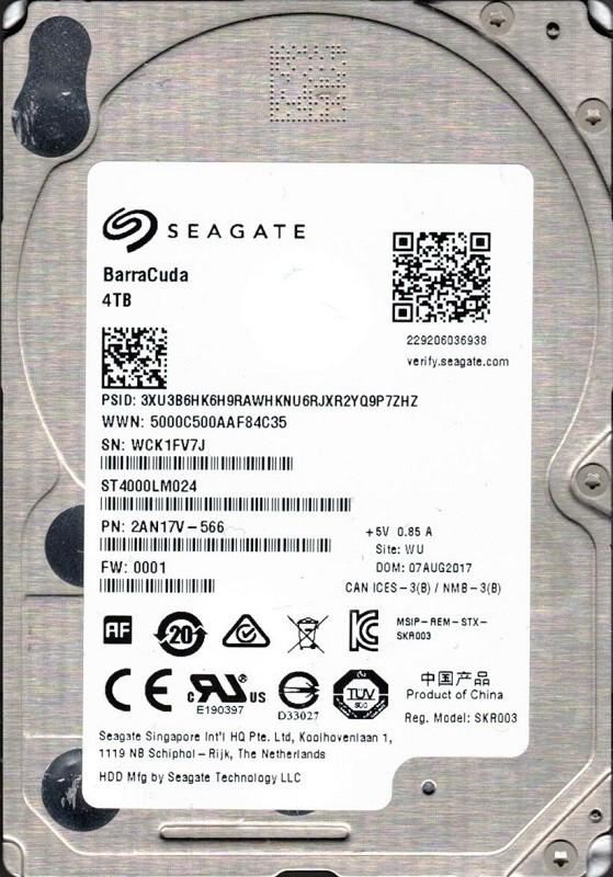 ST4000LM024 F/W: 0001 P/N: 2AN17V-566 WU WCK Seagate 4TB