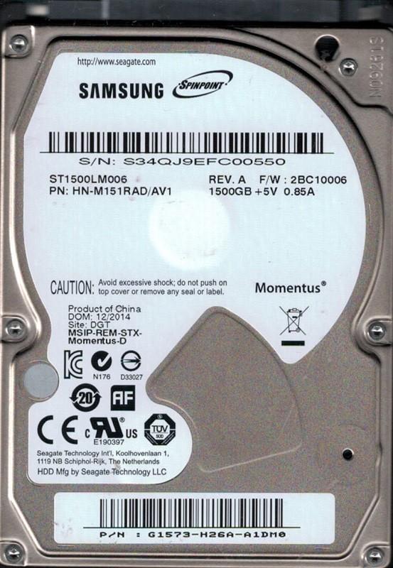 Samsung ST1500LM006 P/N: HN-M151RAD/AV1 F/W: 2BC10006 1.5TB