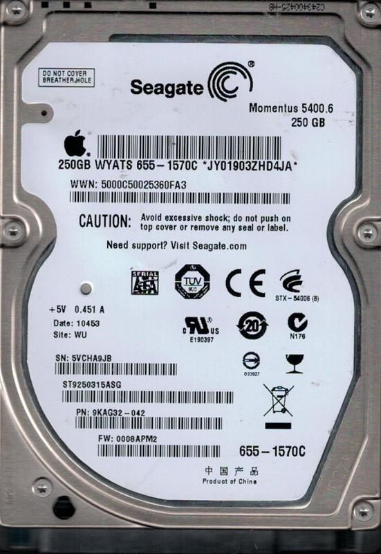 Seagate ST9250315ASG P/N: 9KAG32-042 F/W: 0008APM2 MAC 655-1570C WU 250GB
