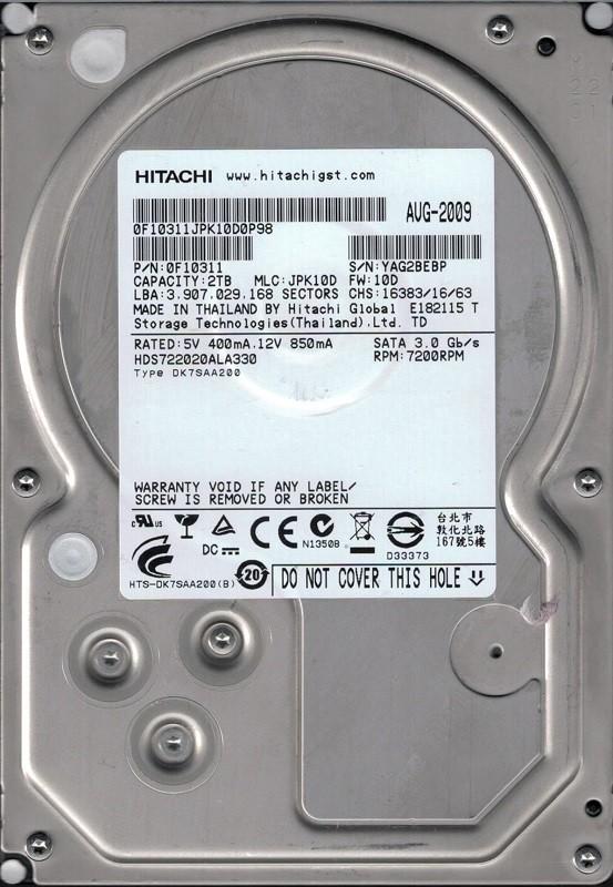 Hitachi HDS722020ALA330 P/N: 0F10311 MLC: JPK10D 2TB