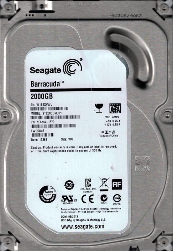 Seagate ST2000DM001 P/N: 1E6164-570 F/W: CC45 2TB WU W1E
