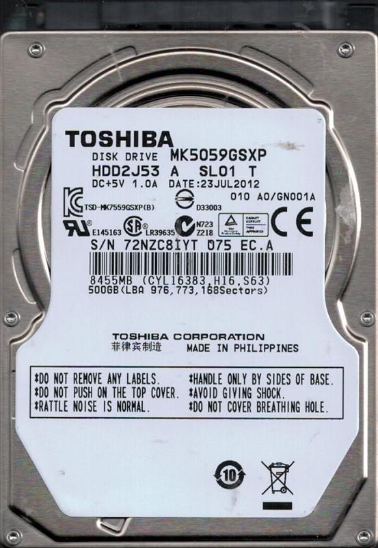 Toshiba MK5059GSXP 500GB HDD2J53 A SL01 T F/W: A0/GN001A PHILIPPINES