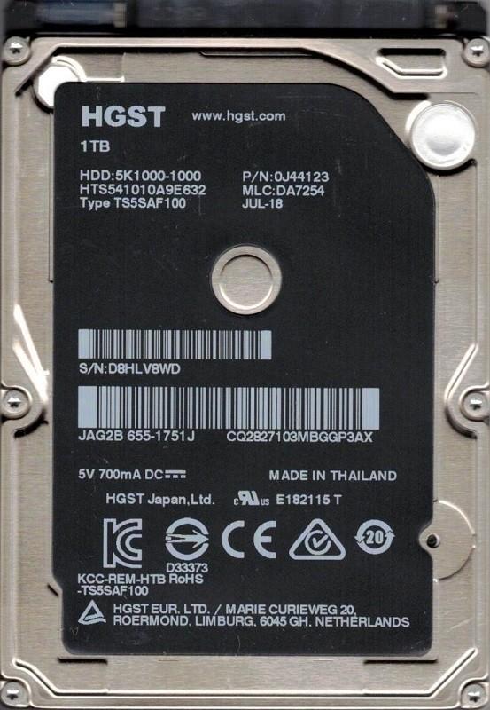 HTS541010A9E632 P/N: 0J44123 MLC: DA7254 MAC 655-1751J HGST 1TB