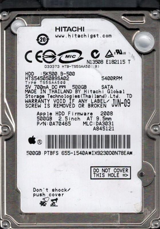 Hitachi HTS545050B9SA02 P/N: 0A70465 MLC: DA3031 MAC 655-1540A 500GB