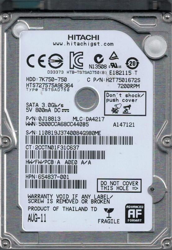 Hitachi HTS727575A9E364 P/N: 0J18813 MLC: DA4217 750GB