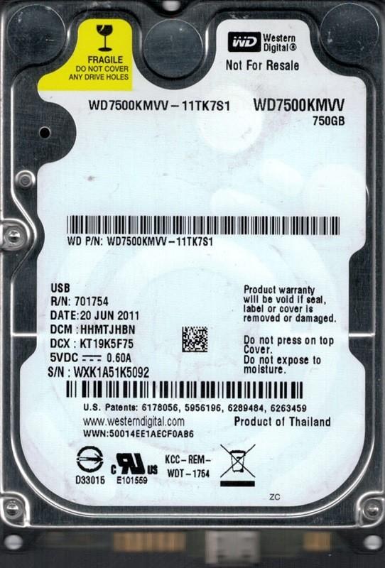 Western Digital WD7500KMVV-11TK7S1 USB 2.0 750GB DCM: HHMTJHBN