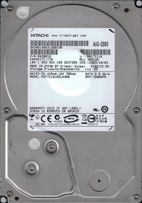 Hitachi HDT721010SLA360 P/N: 0A38016 MLC: BA3120 1TB