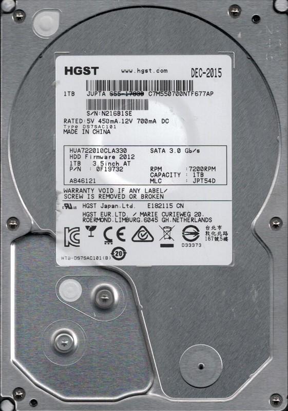 HUA722010CLA330 P/N: 0F19732 MLC: JPT54D MAC 655-1783D HGST 1TB