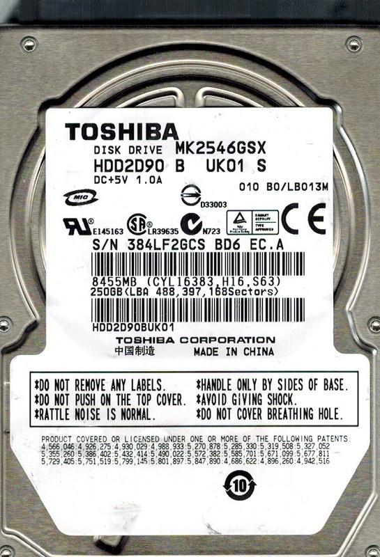 Toshiba MK2546GSX 250GB HDD2D90 B UK01 S CHINA