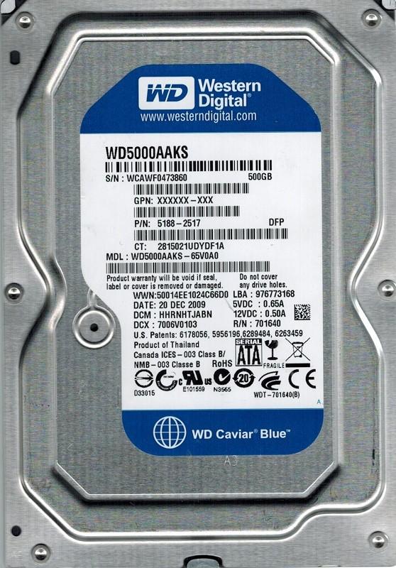 Western Digital WD5000AAKS-65V0A0 500GB DCM: HHRNHTJABN