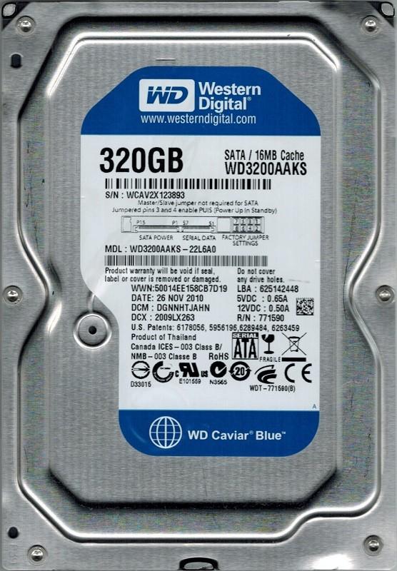Western Digital WD3200AAKS-22L6A0 320GB DCM: DGNNHTJAHN