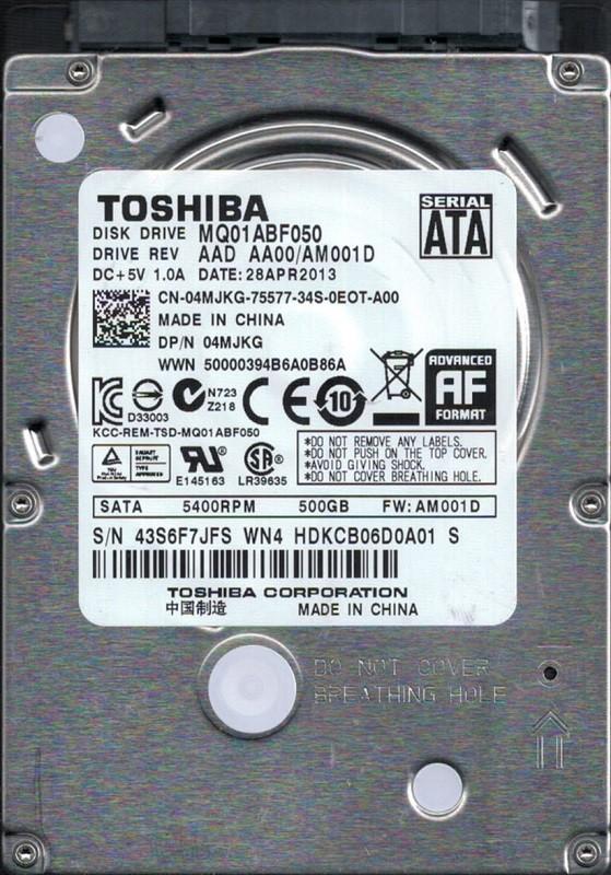 Toshiba MQ01ABF050 500GB AAD AA00/AM001D China