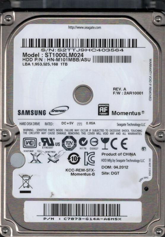 Samsung ST1000LM024 P/N: HN-M101MBB/ASU F/W: 2AR10001 1TB