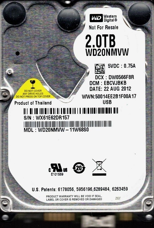 Western Digital WD20NMVW-11W68S0 USB 3.0 2TB DCM: EBCVJBKB
