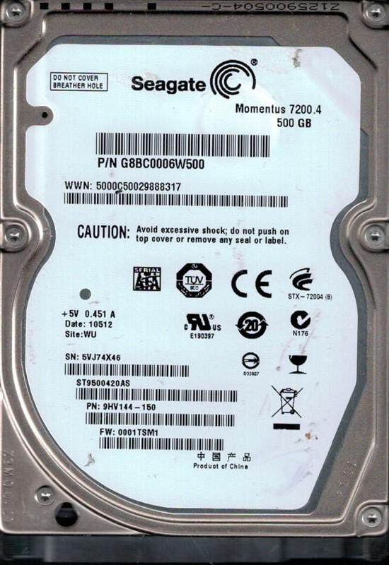 ST9500420AS P/N: 9HV144-150 F/W: 0001TSM1 WU 5VJ Seagate 500GB