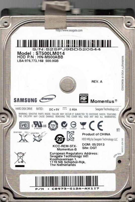 Samsung ST500LM014 HDD P/N: HN-M500ABB P/N: C8973-G12A-AX117 500GB