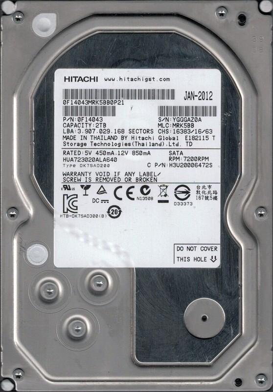 HUA723020ALA640 P/N: 0F14043 MLC: MRK5BB Thailand Hitachi 2TB