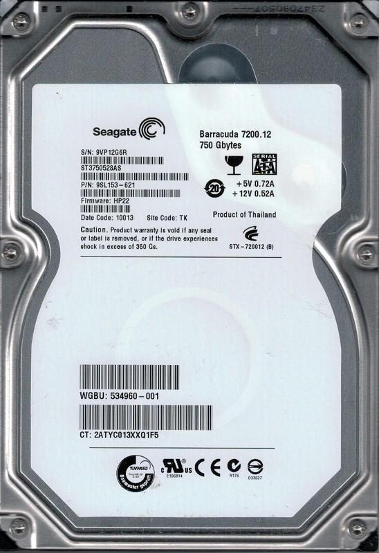 Seagate ST3750528AS P/N: 9SL153-621 F/W: HP22 TK 750GB
